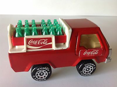 VINTAGE 1982 BUDDY L PRESSED STEEL COCA COLA TRUCK with Bottles & Decals