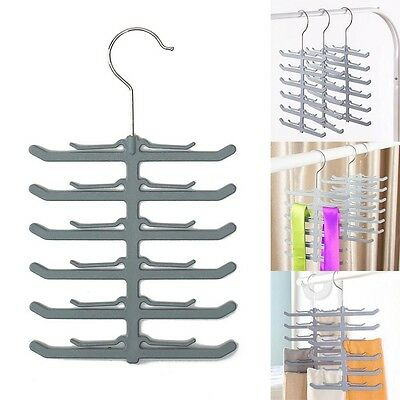 Non-slip 12 Bar Hook Neck Ties Organizer Necktie Shawl Tie Rack Hanger Holder