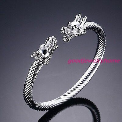 6mm Stainless Steel Silver Dragon Wire Cuff Bangle Mens Womens Bracelet Jewelry