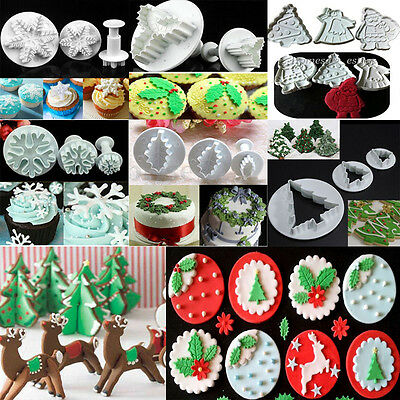 Christmas Xmas Sugar Craft Fondant Cake Decor Cookie Cutter Icing Mold Mould