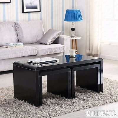 High Gloss Black Coffee Table Side End Nested Tables Set Living Room