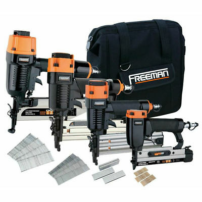 Freeman Finishing Stapler and Nailer 4-Tool Combo Kit P4FNCB New