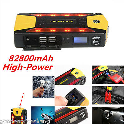 High-Capacity 82800mAh 4USB Car Jump Starter Emergency Charger Booster+Compass