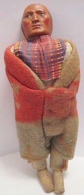 Old Large Indian Skookum Souvenir Doll w/ Native Blanket Clothing - needs hair