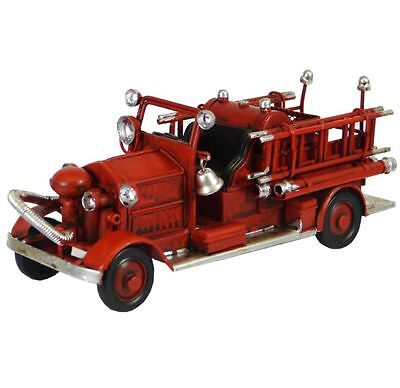 Vintage Style Tin Car - Retro Fire Truck - Metal - 17cm - Red