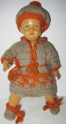 Old German Celluloid Jointed Doll w/ Crochet Clothing Signed DRP