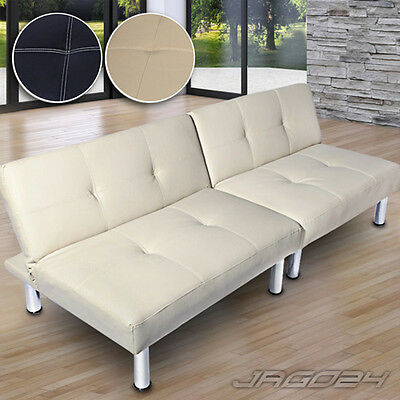 Single Sofa Bed Faux Leather 2/3 Seater Couch Folding Sofabed Futon Furniture