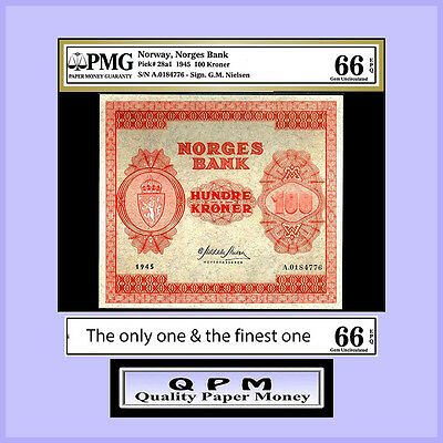 QPM SPECIAL - NORWAY - 1945 - P#28a1 - ONE OF A KIND 100 KRONER - PMG UNC 66