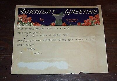 WESTERN UNION - Birthday Greeting - Telegram Form #735 - 1933 - Used