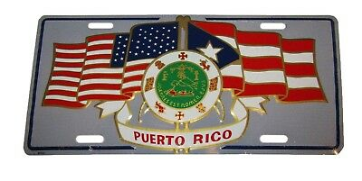 "USA American Puerto Rico Rican Crest Flags 6""x12"" Aluminum License Plate Sign"