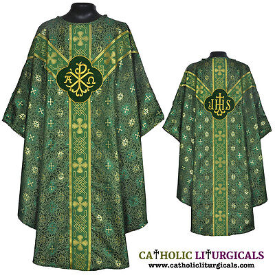 Clergy Embroidered Chasuble GREEN Gothic Vestment & Mass Set 5pc / Priest