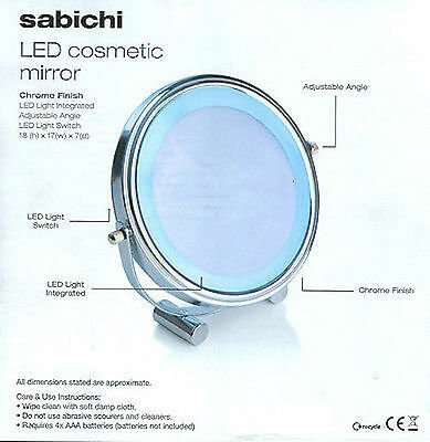 Sabichi LED Cosmetic Round Chrome Shaving Mirror Makeup Magnifying Vanity
