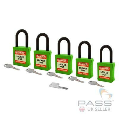 Lockout Fully Insulated Nylon Padlock - Key Different + Master - 5 Pack (Green)