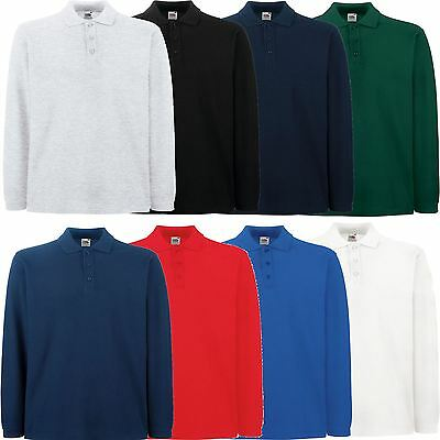 Fruit of the Loom Premium Cotton Long Sleeve Pique Polo T-Shirt - Many Colours