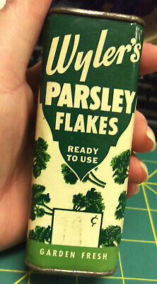 1944 Wylers Parsley Flakes tin cardboard body metal top and bottom - spice tin