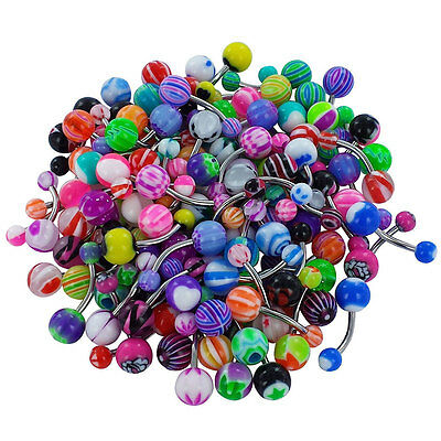 New Chic Charm Belly Bars Body Piercing Belly Button Ring Navel Bar 30pcs
