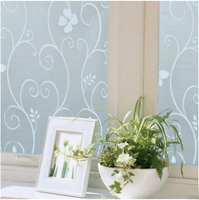 Hot Sweet 45x100cm Frosted Cover Glass Window Flower Sticker Film Home Office