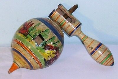 early C19th painted Tunbridge ware humming Spinning Top