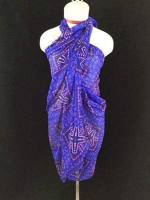 blue pink geometric sarong scarf oversize shawl wrap lightweight tie dress sheer