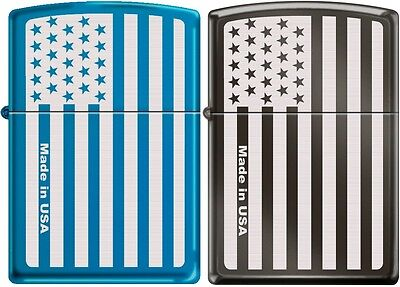 Zippo 2 FLAGSET American Flag Subdued Laser Engraved Windproof Lighters Rare NEW