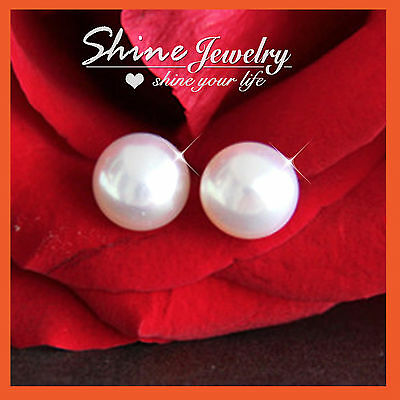 925 Silver 5Mm-10Mm Classic Freshwater Round Stud Womens Girls Kid Earrings Gift