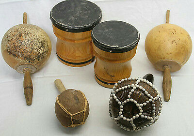 Lot Of 5 Handmade Bongos & Maracas Musical Instrument Hand Carved Coconut