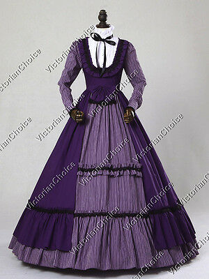 Victorian Gothic Stand Collar Prom Dress Gown Steampunk Theater Clothing 190