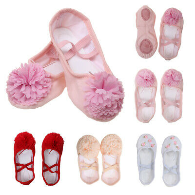Soft Girls Kid Canvas Leather Ballet Yoga Shoes Pointe Dance Flat Shoes Slippers
