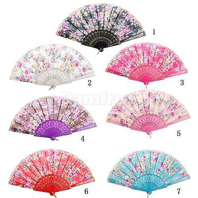Polyester Fabric Blossom Hand Fan Plastic Keel Folding Purse Girl Party Gift