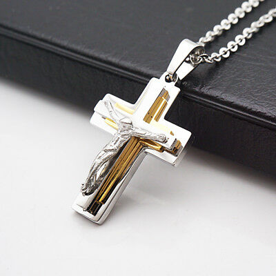 Fashion Stainless Steel Crucifix Jesus Cross Pendant Chain Necklace Silver#5