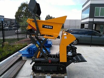 High lift dumper with self loading bucket