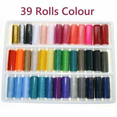 39 Rolls Assorted Colour Spools Finest Quality Sewing Thread All Purpose AU