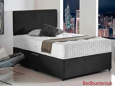 BLACK SUEDE DIVAN BED SET + MEMORY MATTRESS + HEADBOARD 3FT 4FT6 Double 5FT King