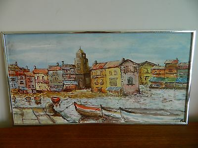 Vintage Retro Oil on Board Painting Mediterranean Village Coastal 1978