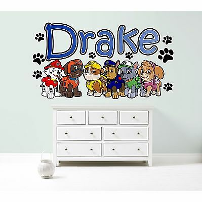 PAW PATROL GROUP PERSONALISED WALL STICKER children's bedroom decal art CHASE