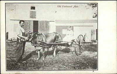 Farmer - Wife in Oxen Drawn Wagon c1910 Postcard