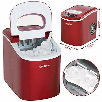 Popamazing Red Electrical Ice Cube Machine Maker Cold Drinks Cocktails Business