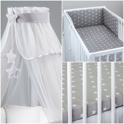 LUX  7 PCS PIECES COT BEDDING BED SET BUMPER CANOPY GRAY STARS HEARTS  boy girl