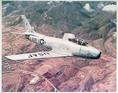 Large Period Color Photo of USAF F-86 Sabre Jet Early 1950's