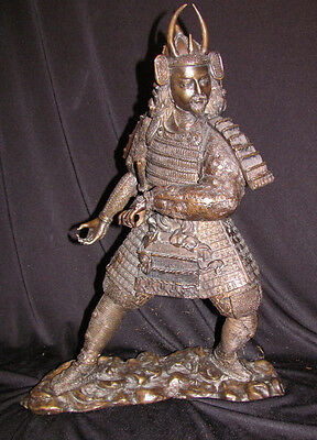 Antique Japanese Bronze Statue Of Samurai Warrier Circa 1900