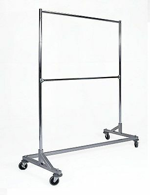 Silver Heavy Duty Commercial Grade Double Bar Z Rack Clothing Garment Clothes