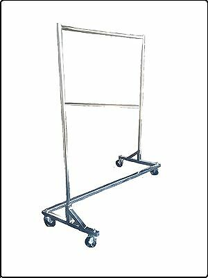 Chrome Heavy Duty Commercial Grade Double Bar Z Rack Clothing Garment Clothes