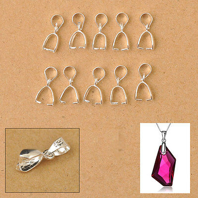 50X 925 Sterling Silver Jewelry Findings Connector Bail Pinch Clasp for Pendant