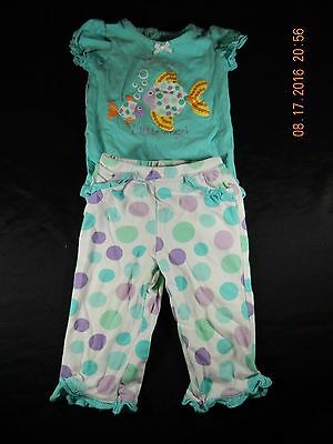Baby Girl's Koala Baby Outfit: Fish Short Sleeve Top & Pants Size 9 Months