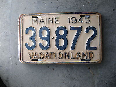 1945 45 Maine Me License Plate 39872