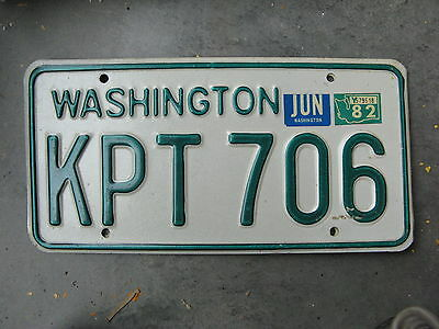 1982 82 Washington Wa License Plate Nice Tag Kpt 706 Natural Sticker