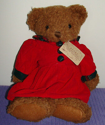 "Russ Holly Bears From The Past 1188 Red Cordoroy Dress @ 14"" Tall New With Tags"