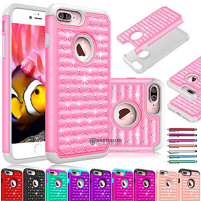 For iPhone 7/8 Plus Glitter Sparkle Bling Shockproof Hybrid Hard TPU Case Cover
