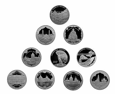 10 x 3 Rubel Rubles 10 x 1 Oz Silber Proof Symbols of Russia Russland 2015