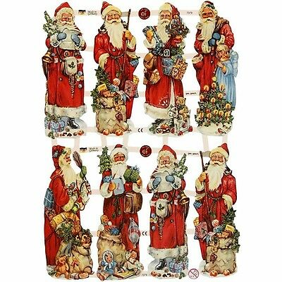 Vintage Style Die Cuts Father Christmas 3 Sheets 24 Die Cuts Santa Claus